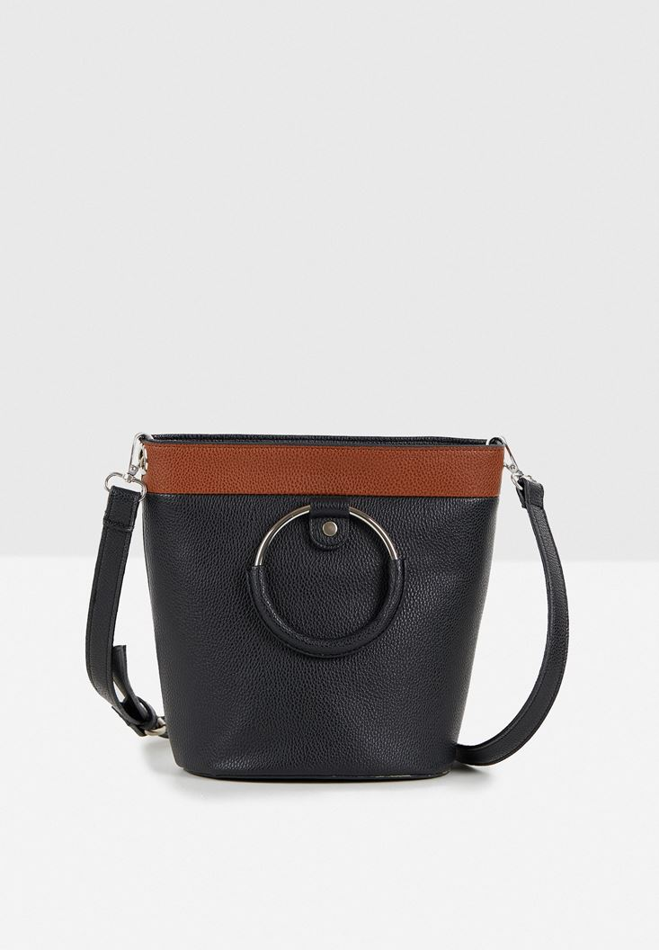 Black Crossbody Bag with Details