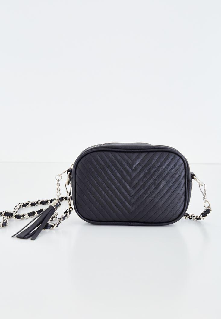 Tasseled Shoulder Bag with Details