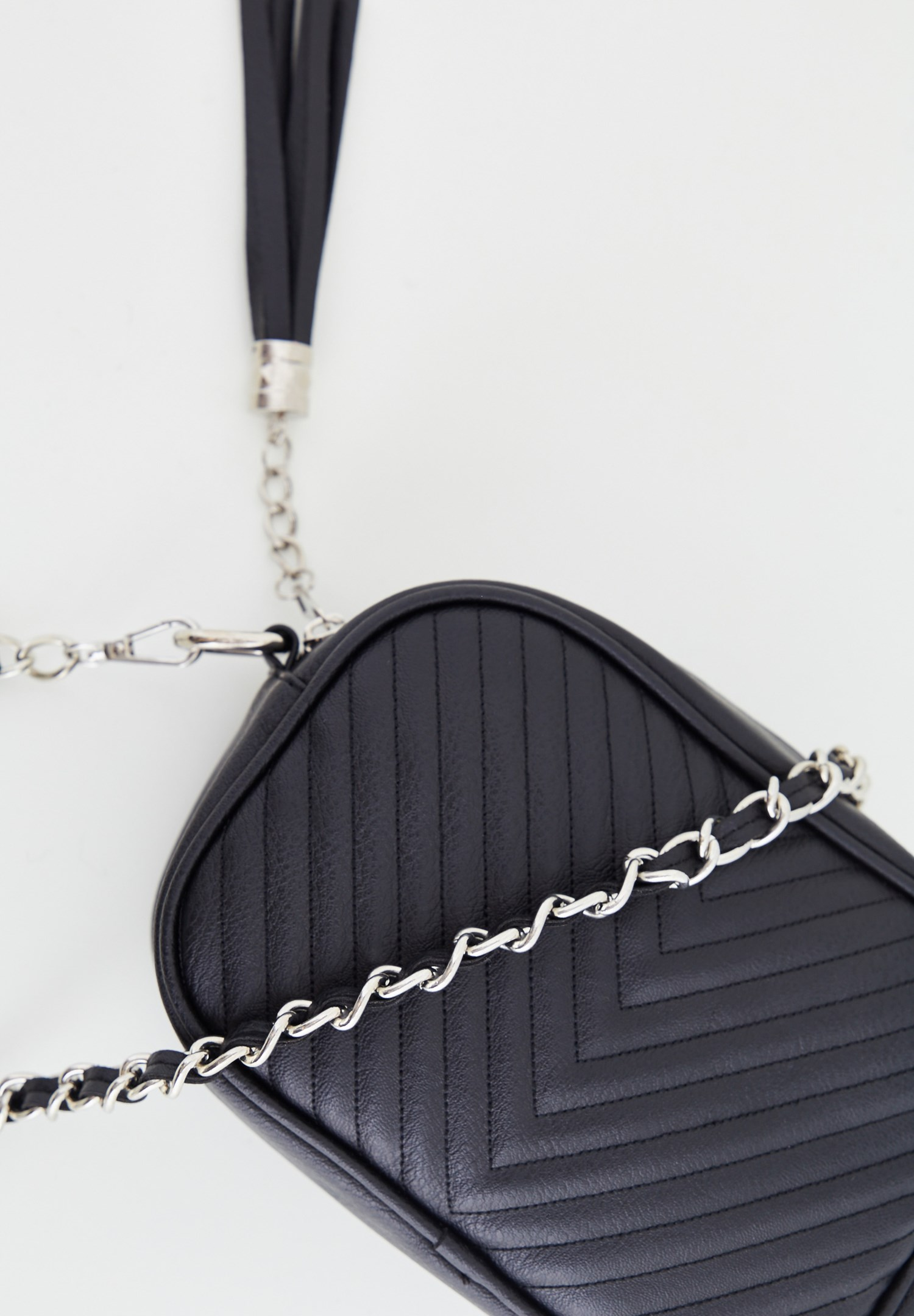 Women Black Tasseled Shoulder Bag with Details
