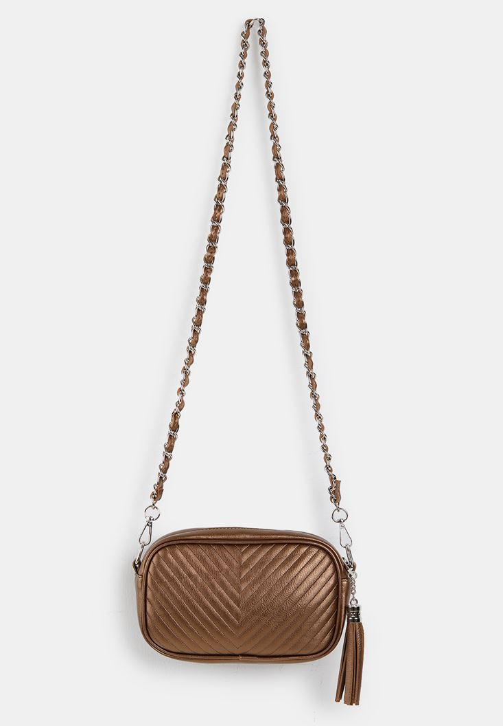 Brown Tasseled Shoulder Bag with Details