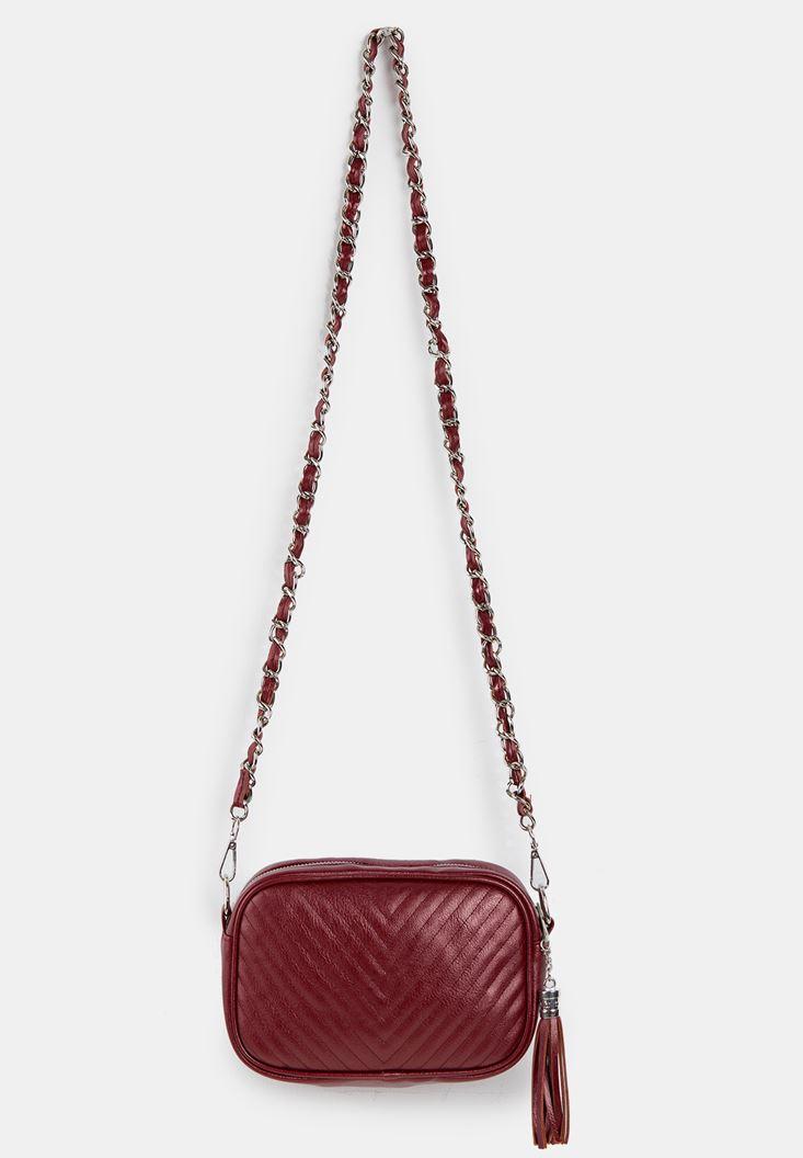 Bordeaux Tasseled Shoulder Bag with Details