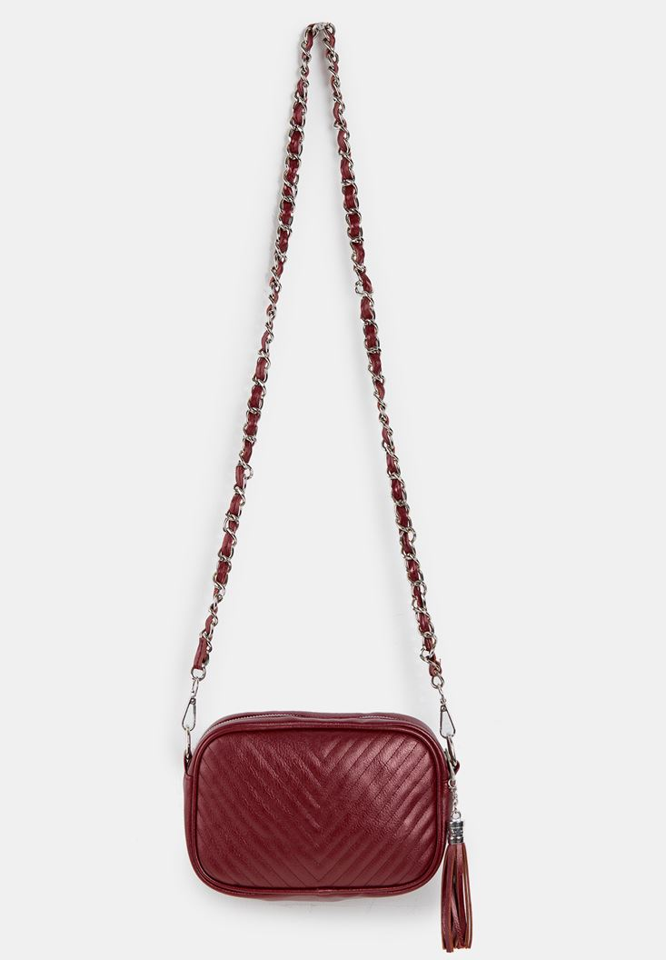 Tasseled Shoulder Bag with Details