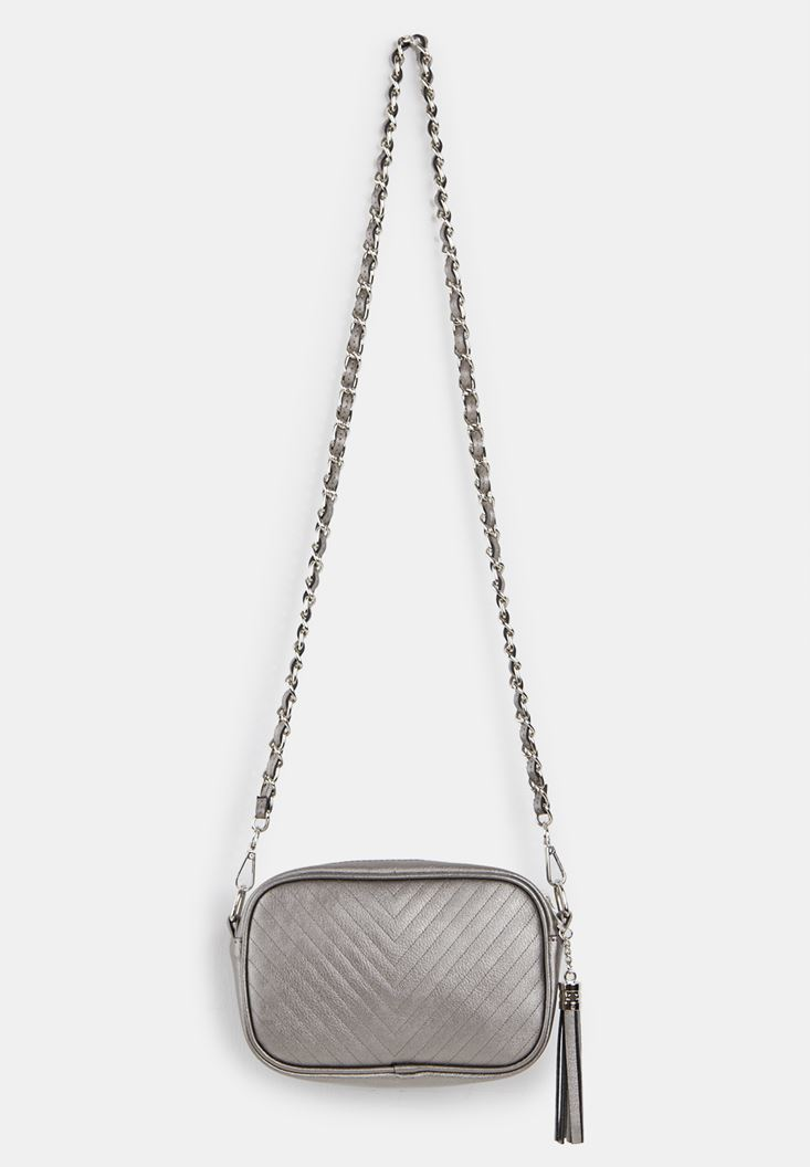 Grey Tasseled Shoulder Bag with Details