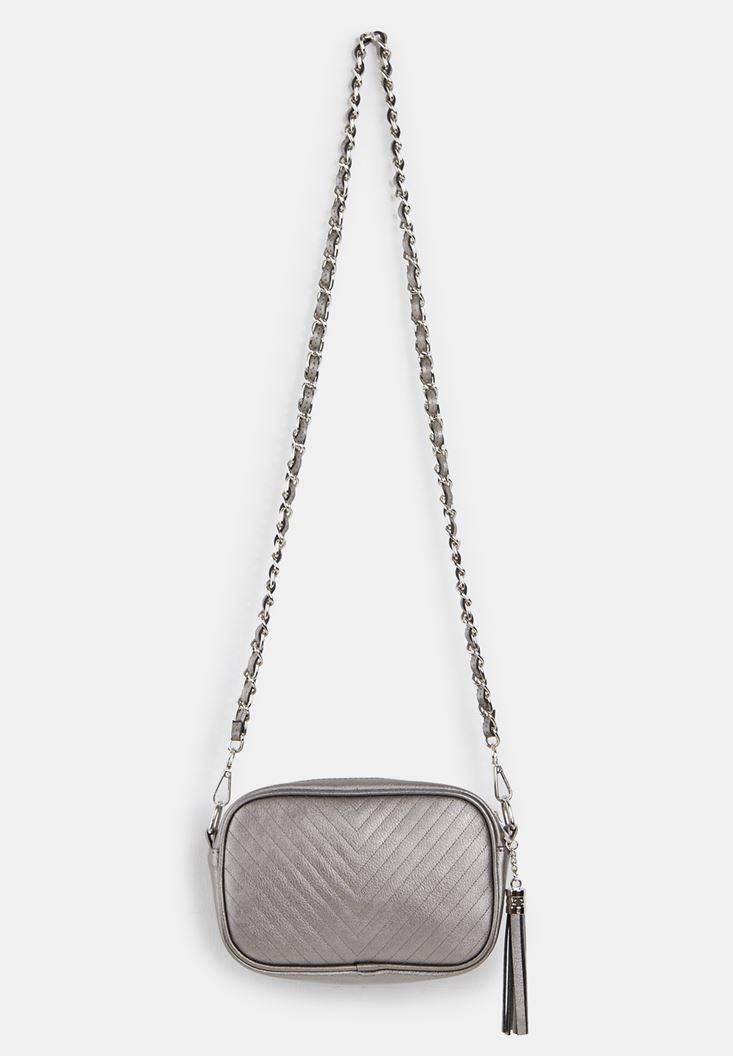 Grey Tasseled Shoulder Bag with Details