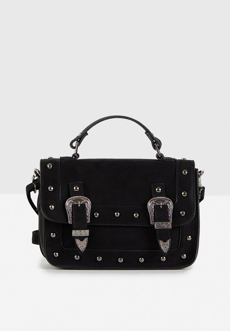 Siyah Toka Detaylı Kutu Çanta