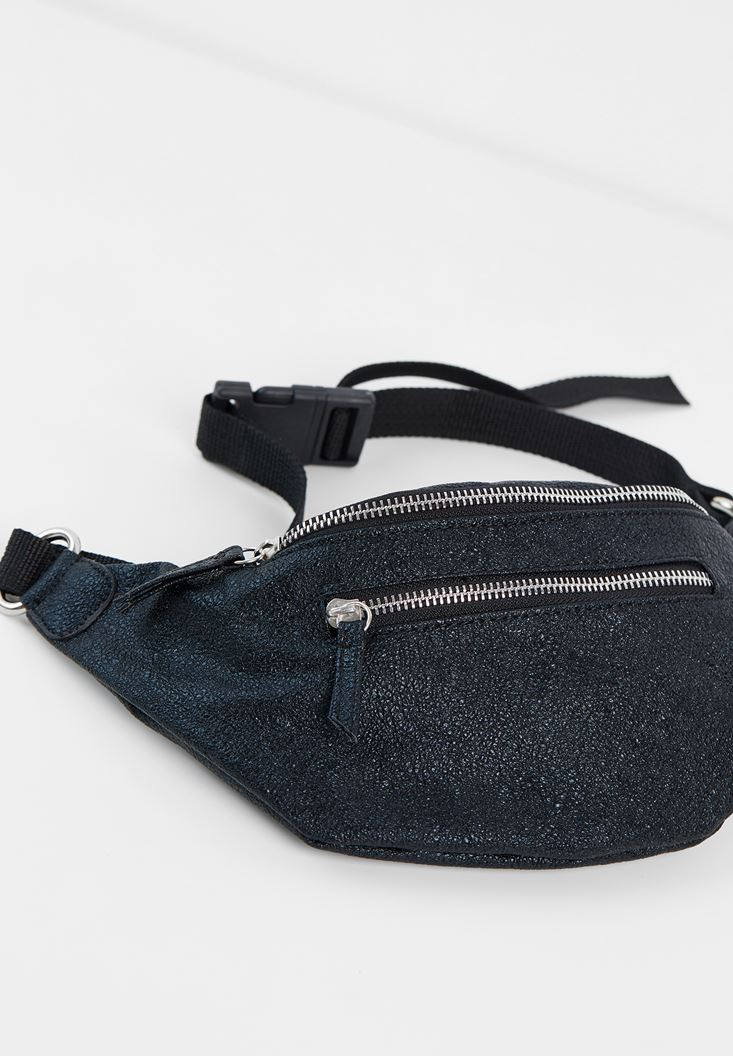 Black Belt Bag with Shiny Detail