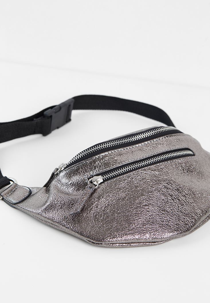Grey Belt Bag with Shiny Detail