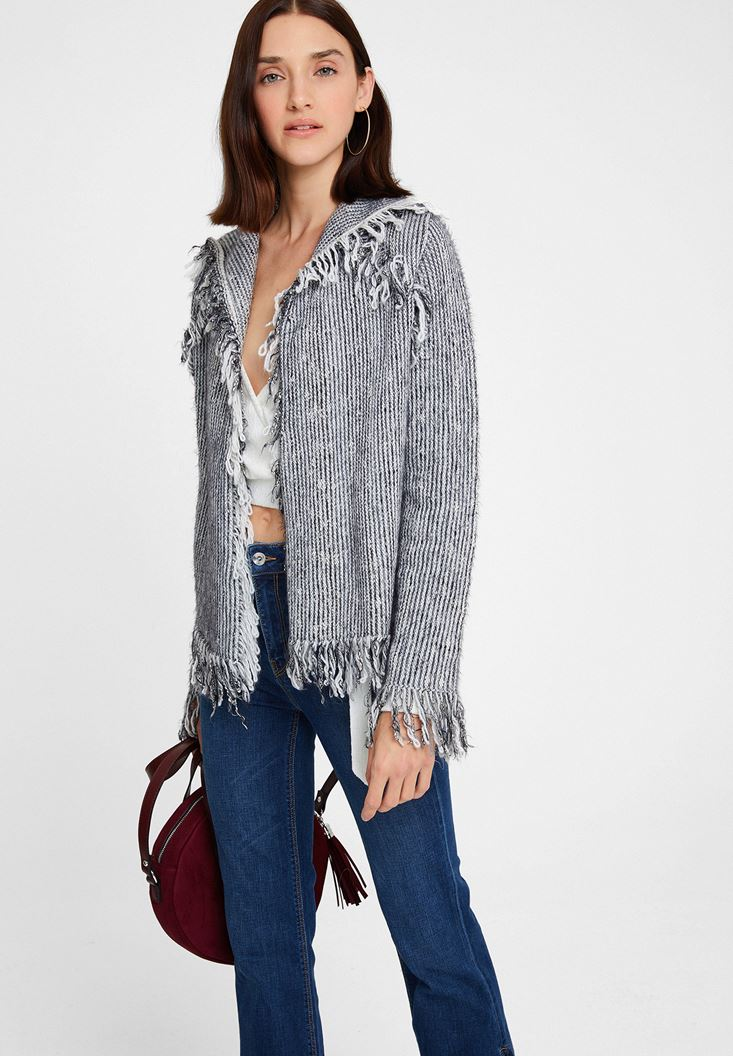 Grey Melange Cardigan with Tassel Details