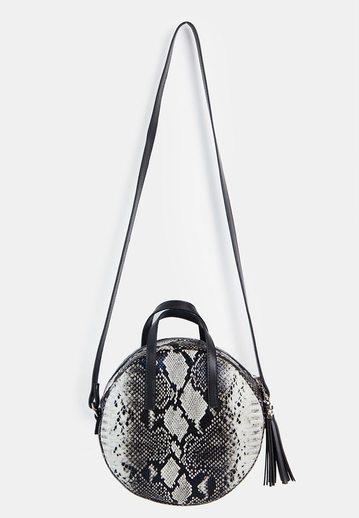 Black Snakeskin Print Bag
