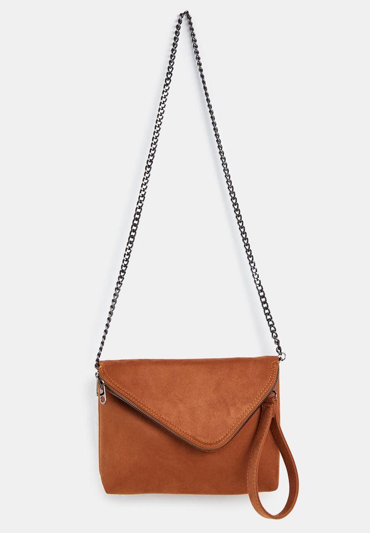 Kahverengi Zincir Askılı Zarf Çanta