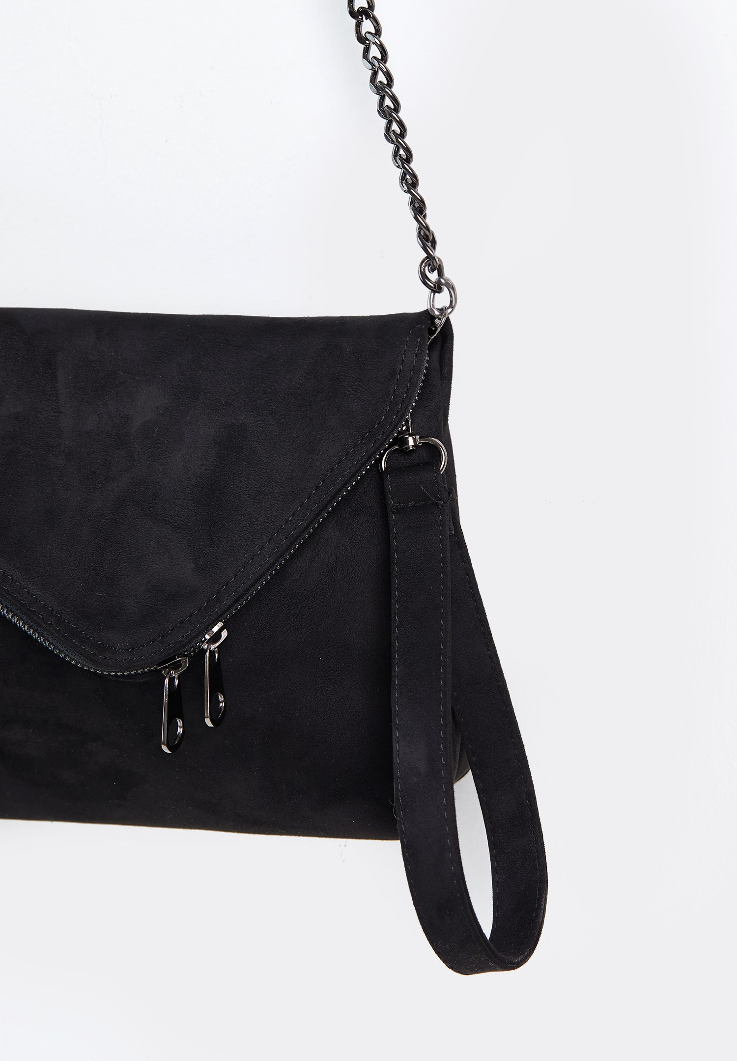 Women Black Suede Crossbody Bag