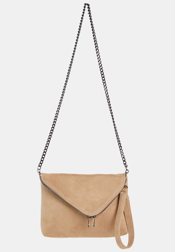 Cream Suede Crossbody Bag