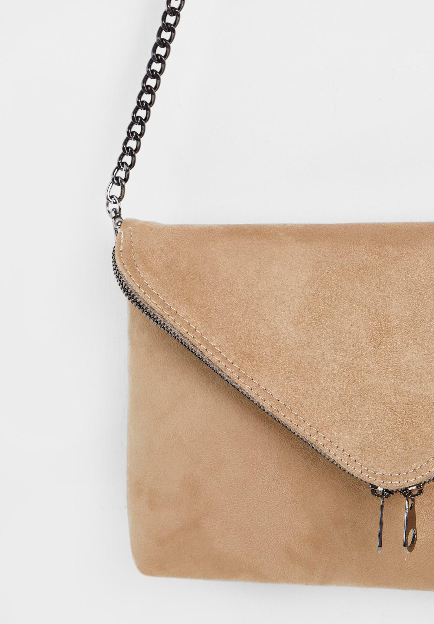 Bayan Krem Zincir Askılı Zarf Çanta
