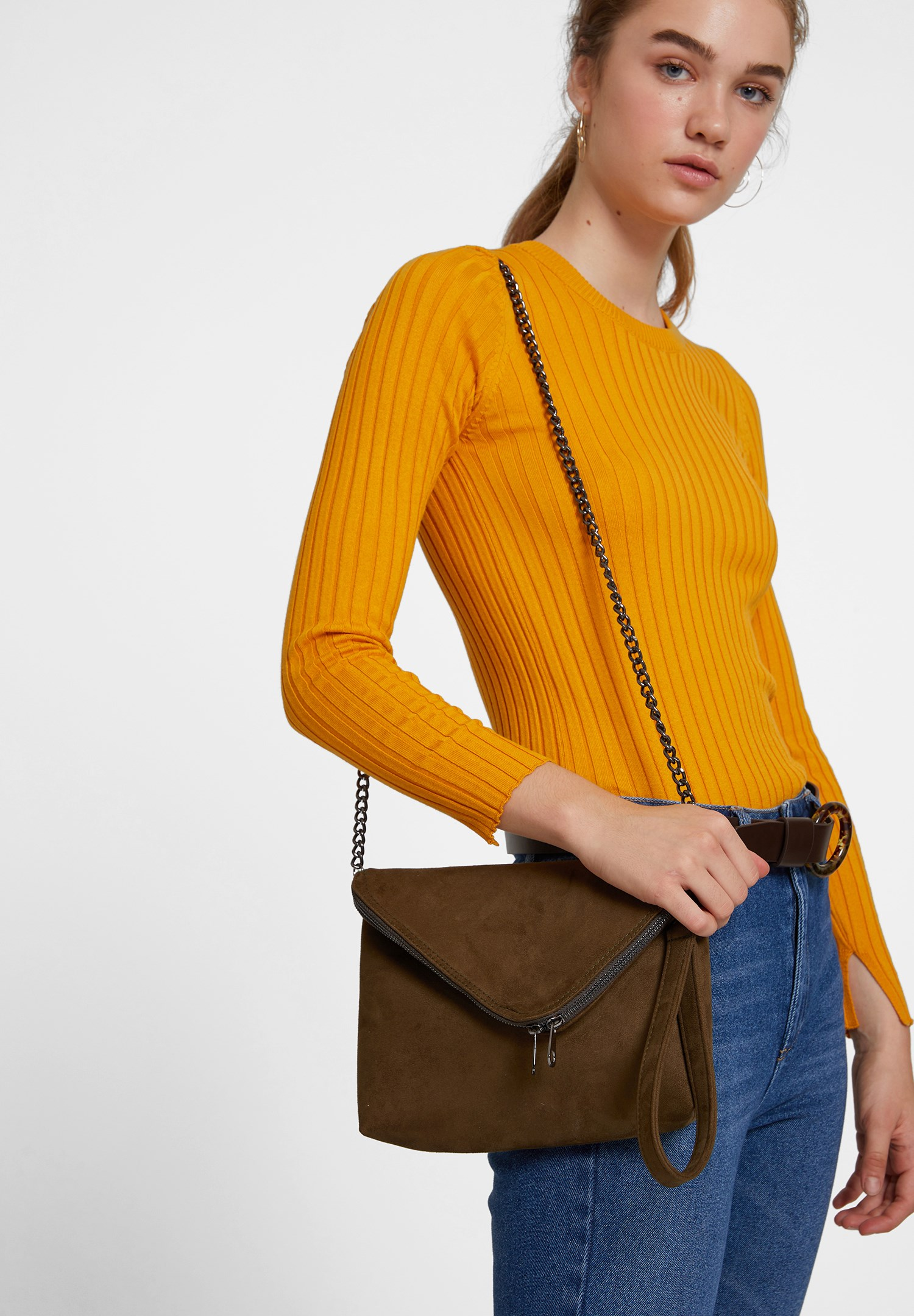 Women Green Suede Crossbody Bag