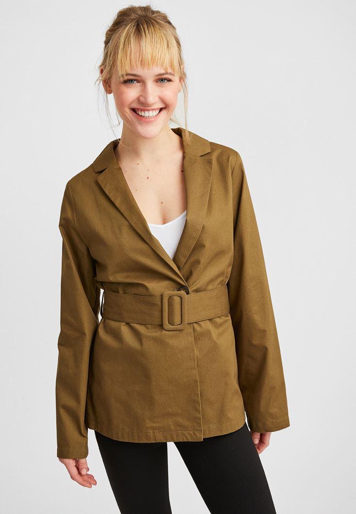 Yeşil Beli Kemer Detaylı Ceket