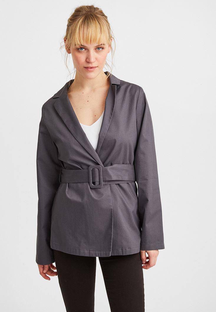 Gri Beli Kemer Detaylı Ceket