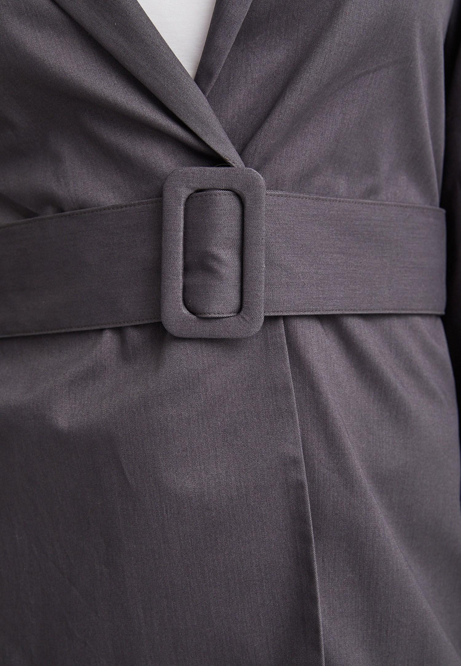 Bayan Gri Beli Kemer Detaylı Ceket