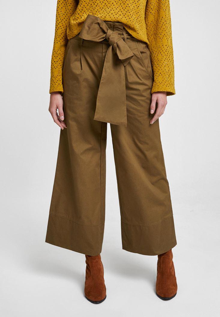 Yeşil Beli Bağlamalı Bol Pantolon