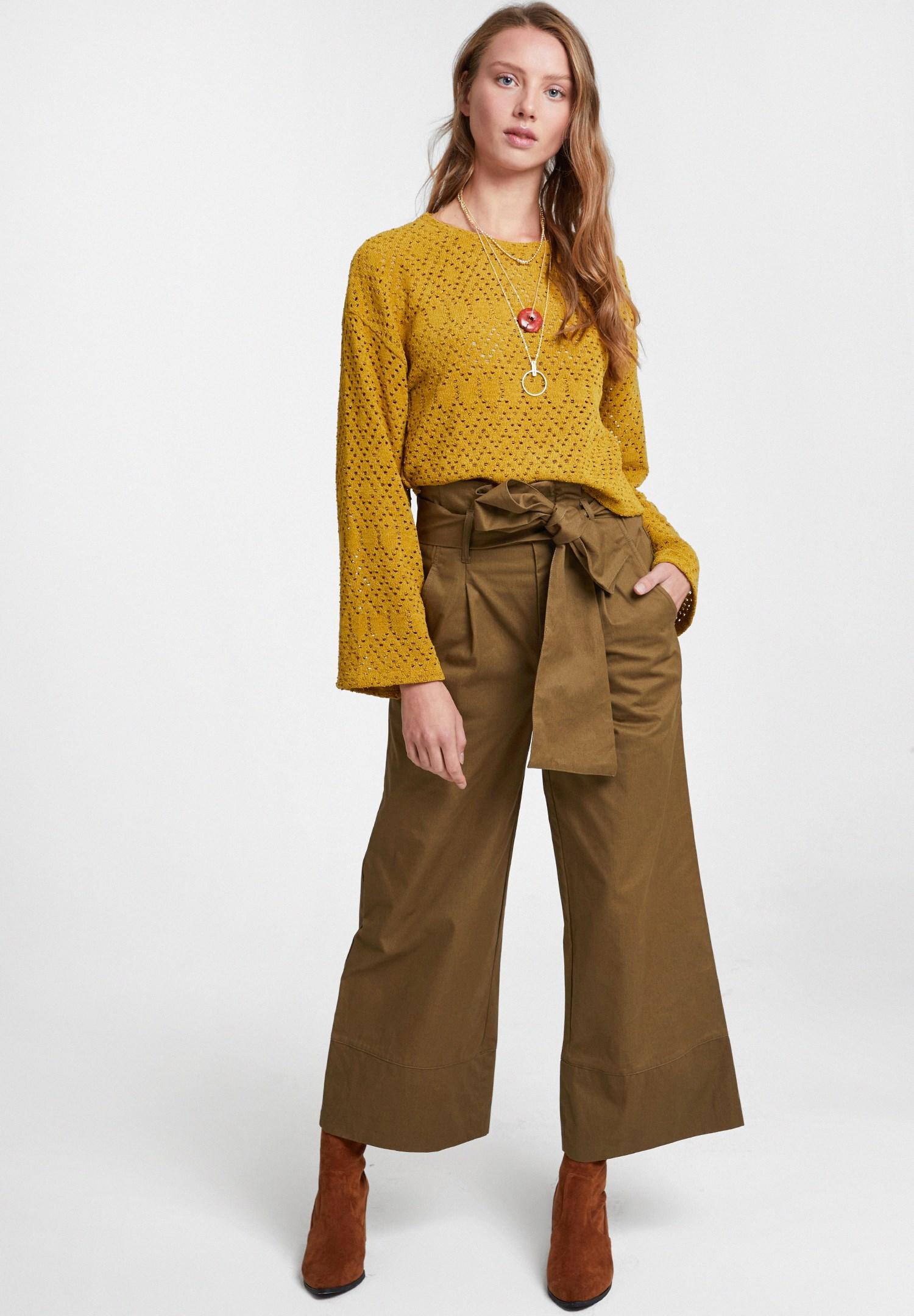 Bayan Yeşil Beli Bağlamalı Bol Pantolon
