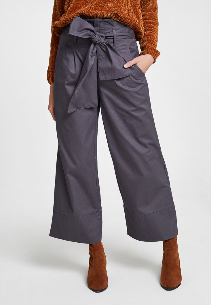 Gri Beli Bağlamalı Bol Pantolon