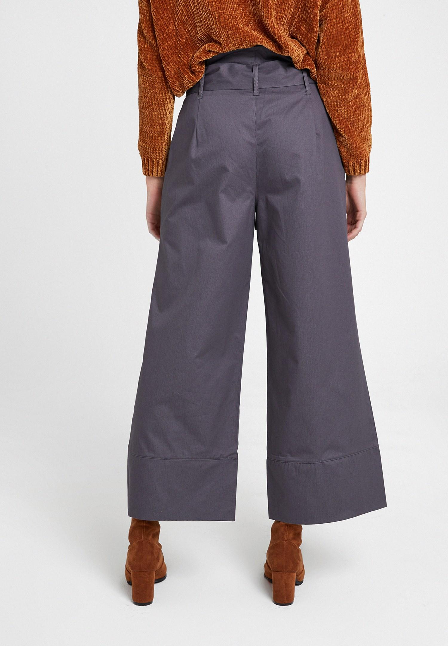 Bayan Gri Beli Bağlamalı Bol Pantolon