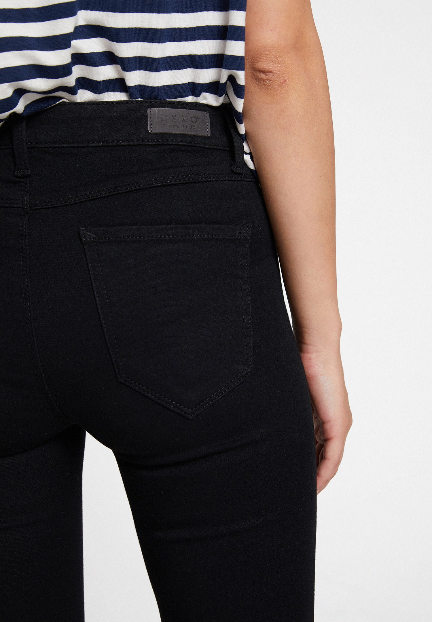 Bayan Siyah Orta Bel Cepli Pantolon