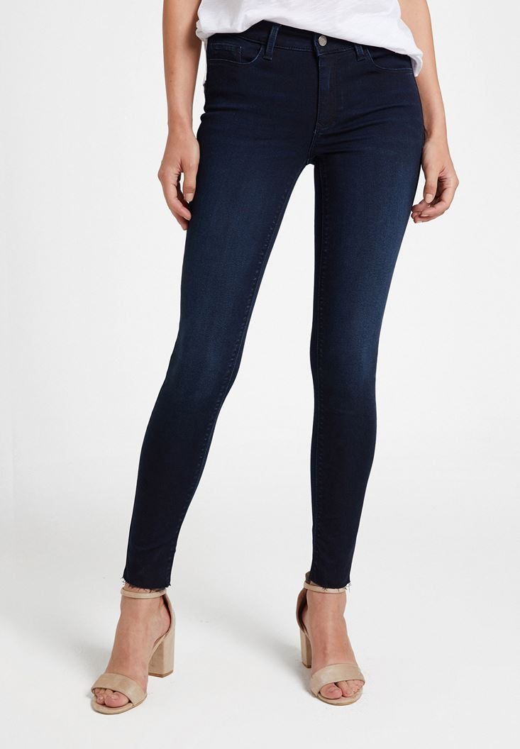 Blue Mid Rise Pants with Pocket