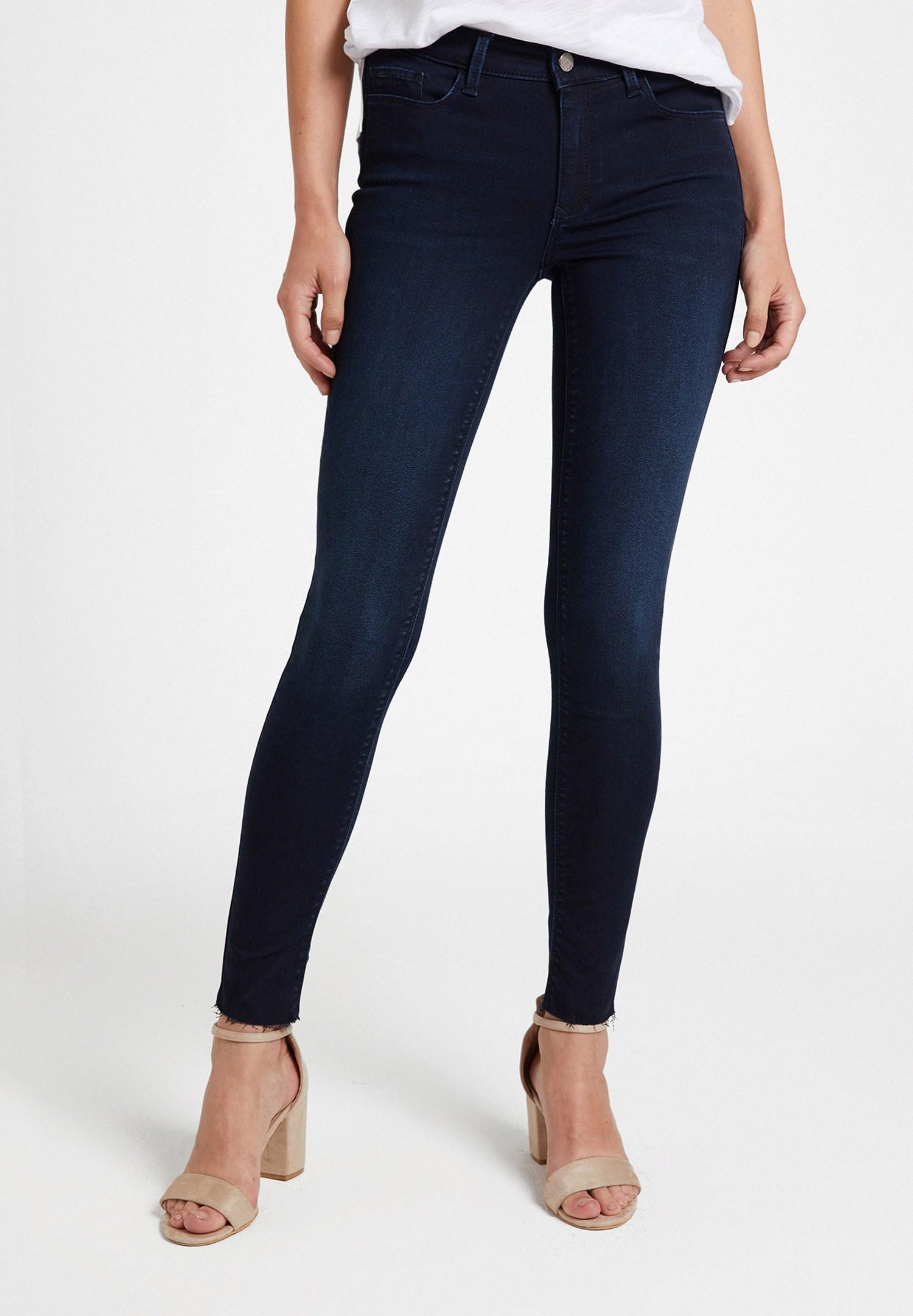 Bayan Mavi Orta Bel Cepli Pantolon