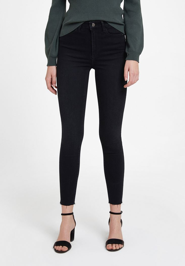 Black High Rise Skinny Ankle Denim Pants