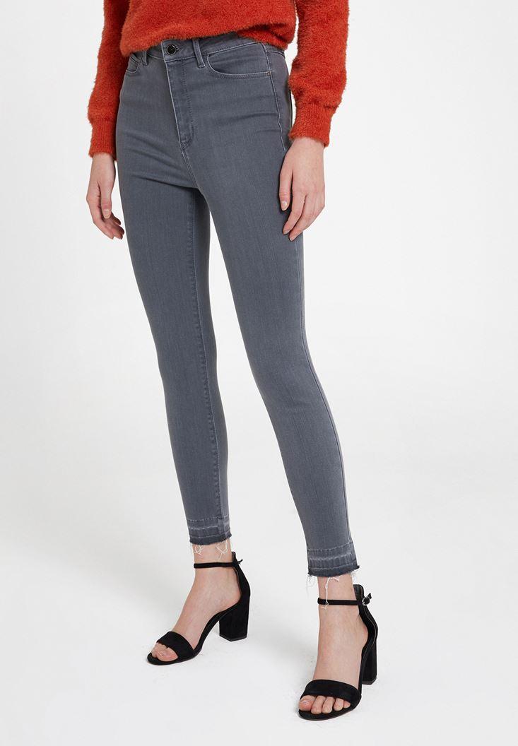 Grey High Rise Skinny Ankle Denim Pants