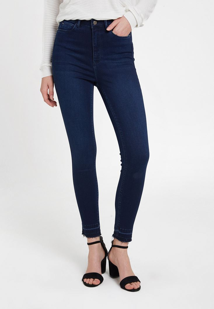 Blue High Rise Skinny Ankle Denim Pants