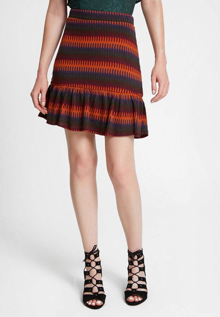 Mixed Skirt with Mix Pattern and Ruffle