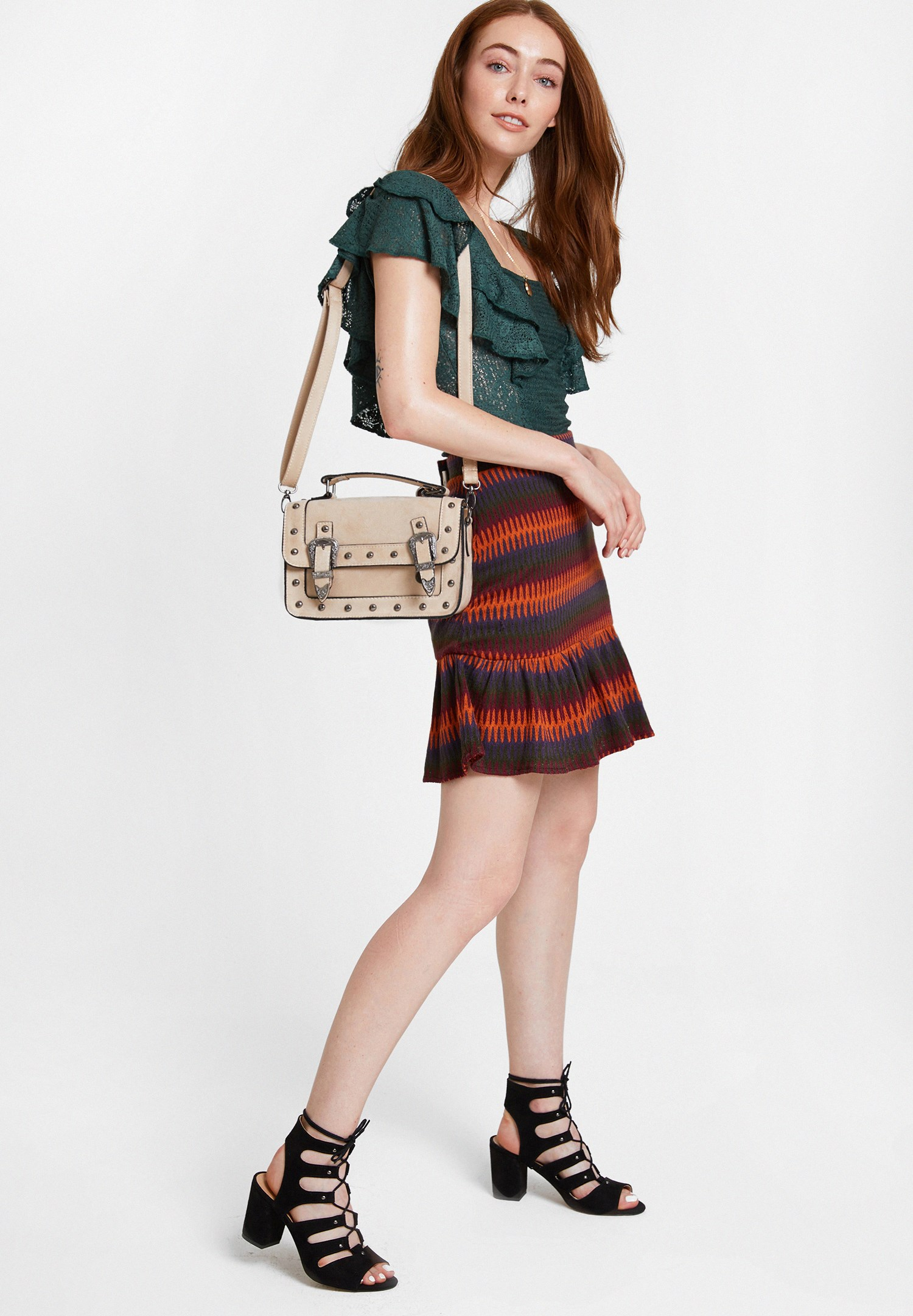 Women Mixed Skirt with Mix Pattern and Ruffle