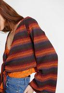 Bayan Çok Renkli Desenli Bağlama Detaylı Triko