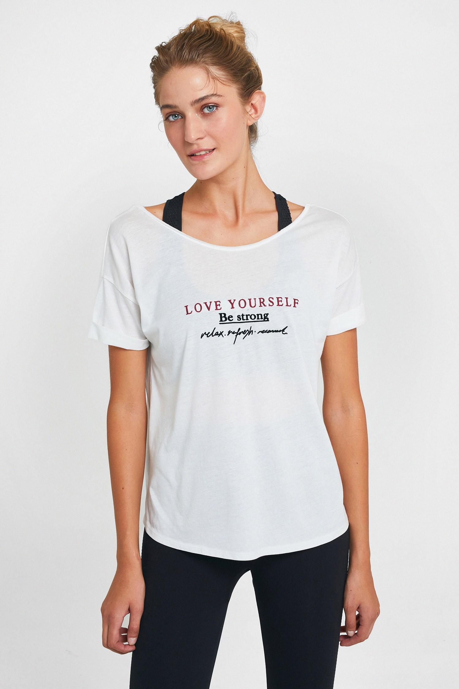 Bayan Krem Sırt Detaylı Baskılı Tişört