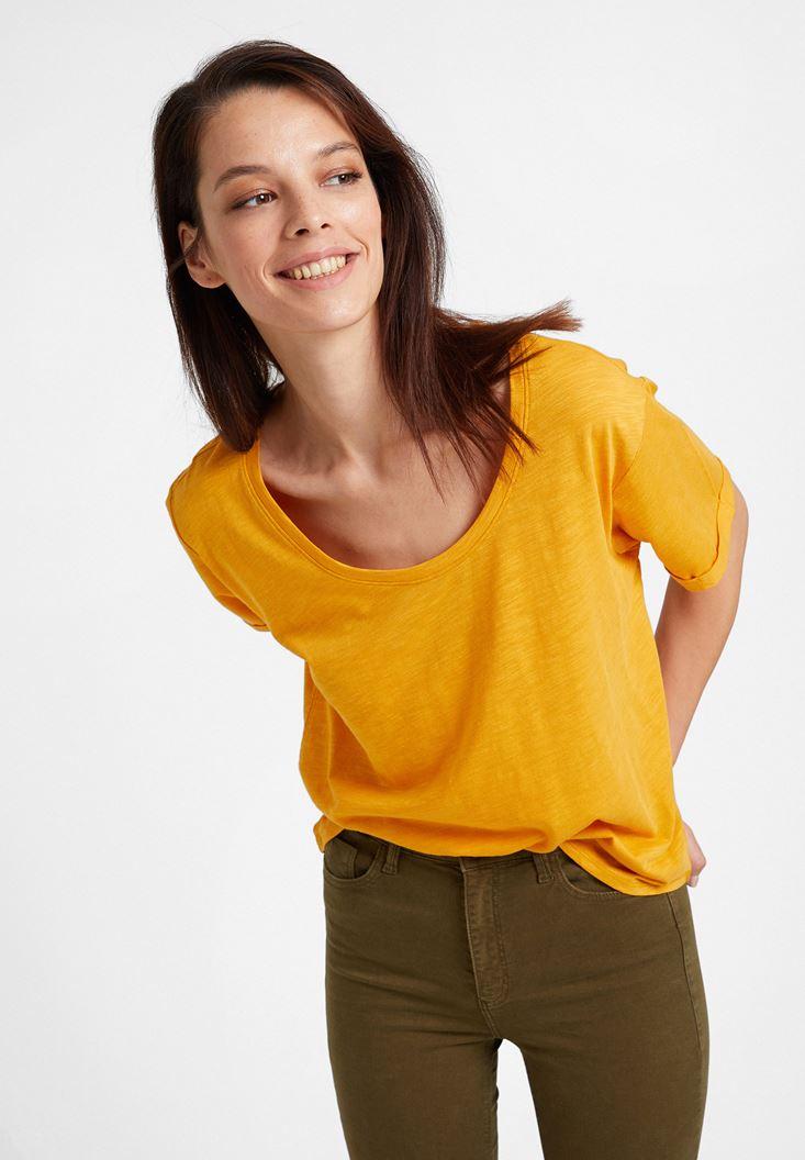 Turuncu U Yaka Basic Modal Karışımlı Tişört