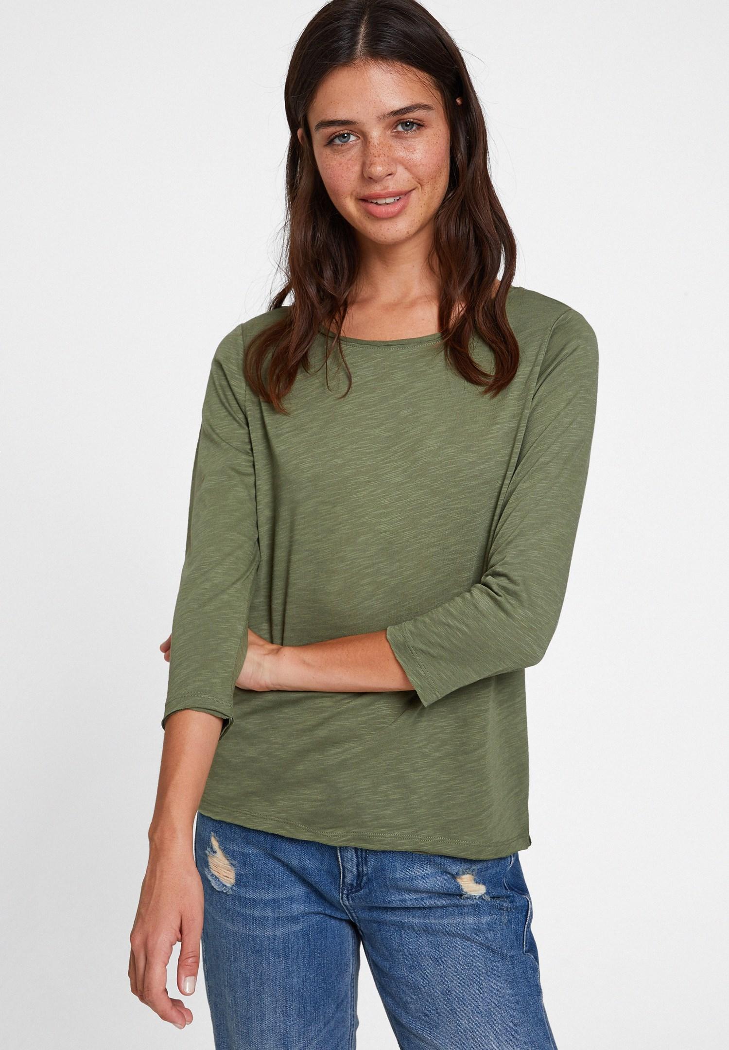 Bayan Yeşil Modal Karışımlı Uzun Kollu Tişört