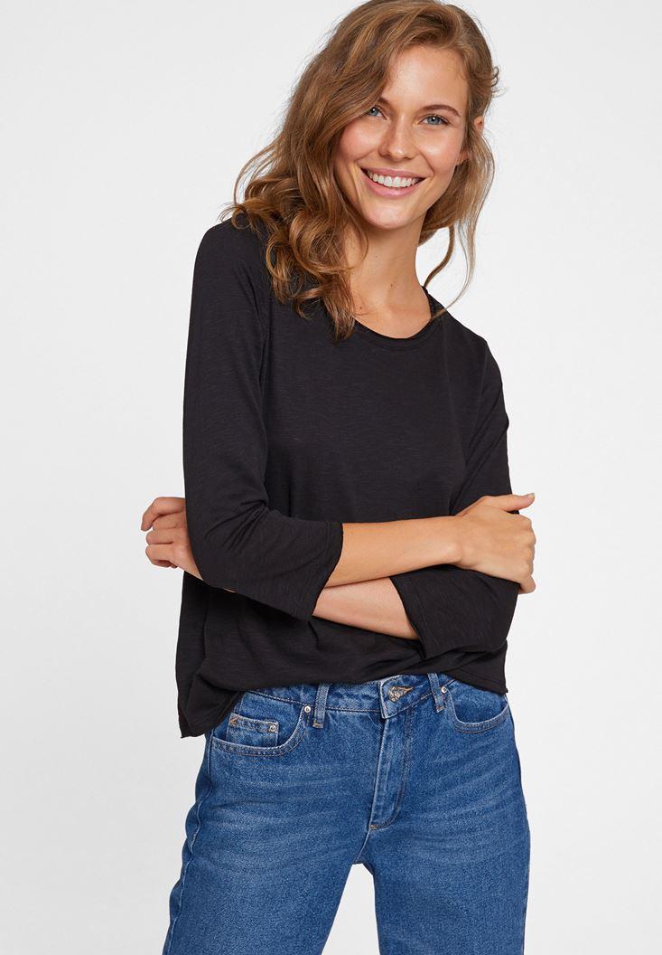 Siyah Modal Karışımlı Uzun Kollu Tişört