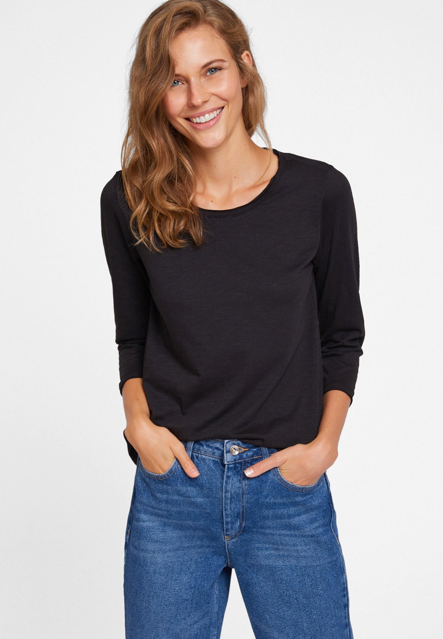 Bayan Siyah Modal Karışımlı Uzun Kollu Tişört