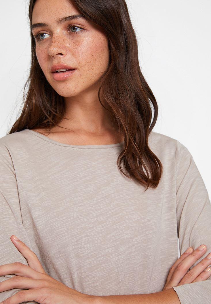 Krem Modal Karışımlı Uzun Kollu Tişört