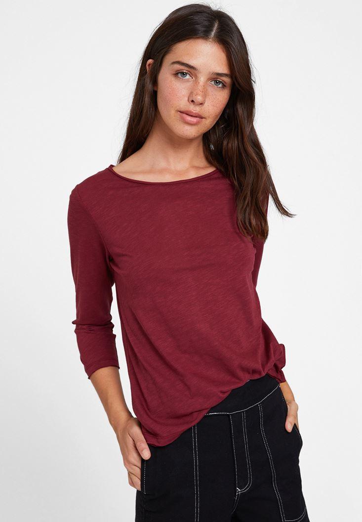 Bordo Modal Karışımlı Uzun Kollu Tişört