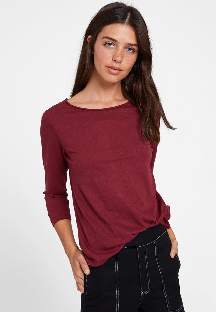 Bordeaux Long Sleeve T-shirt with Detail