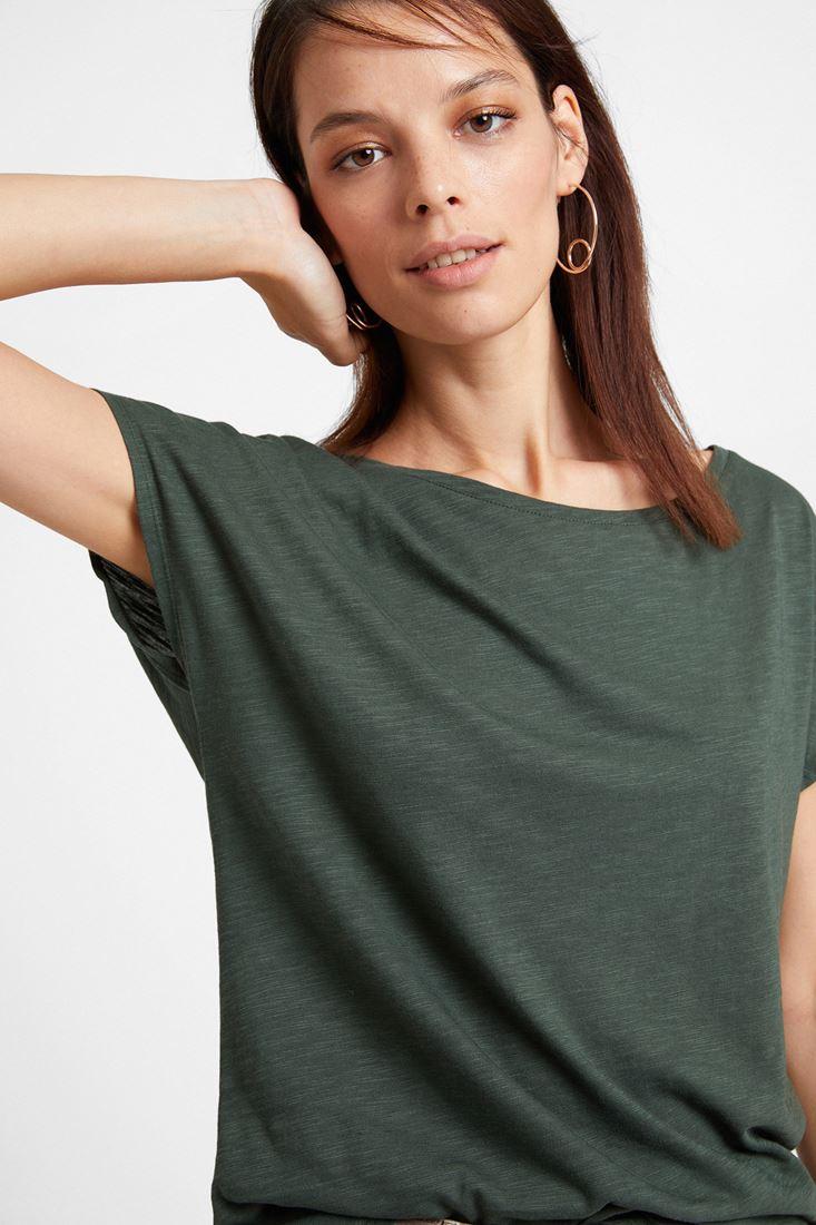 Yeşil Bot Yaka Modal Karışımlı Tişört