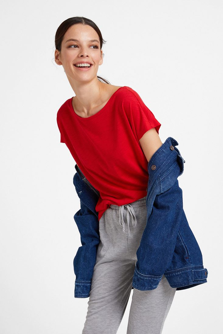 Red Boat Neck Modal T-shirt
