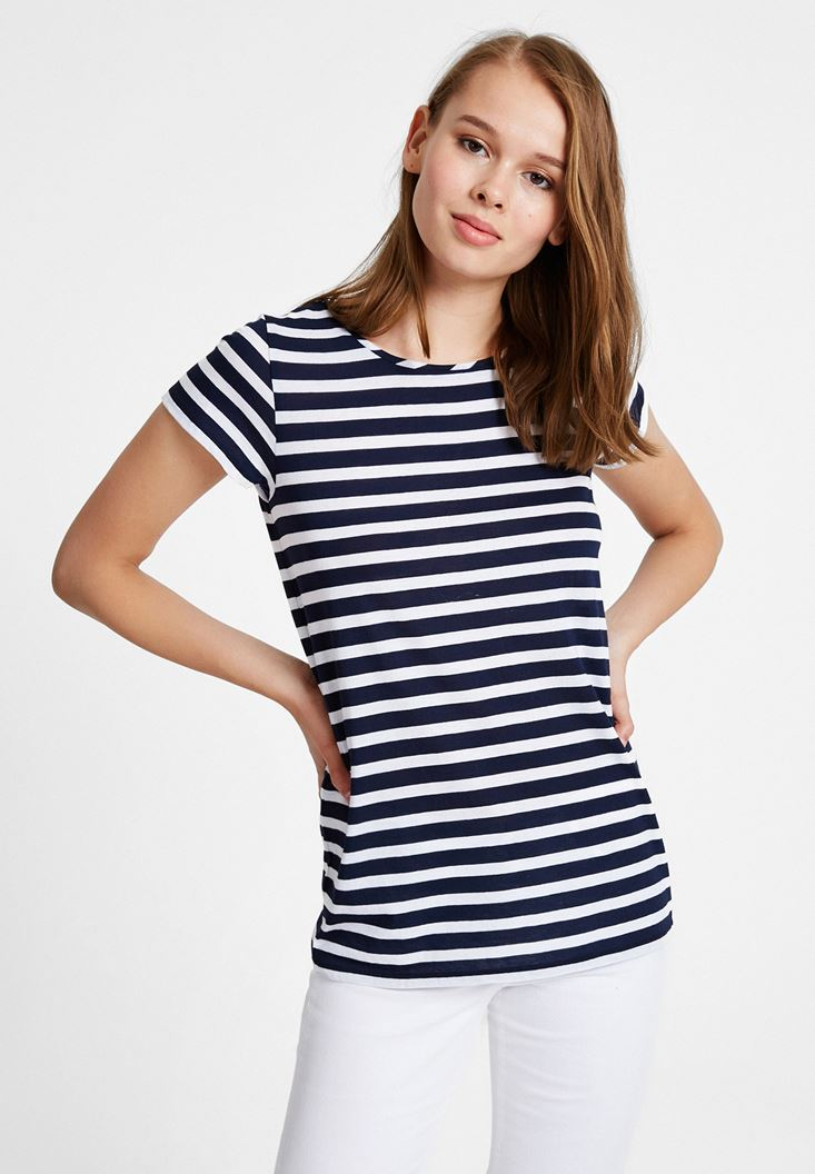 Mixed Striped T-Shirt with Neck
