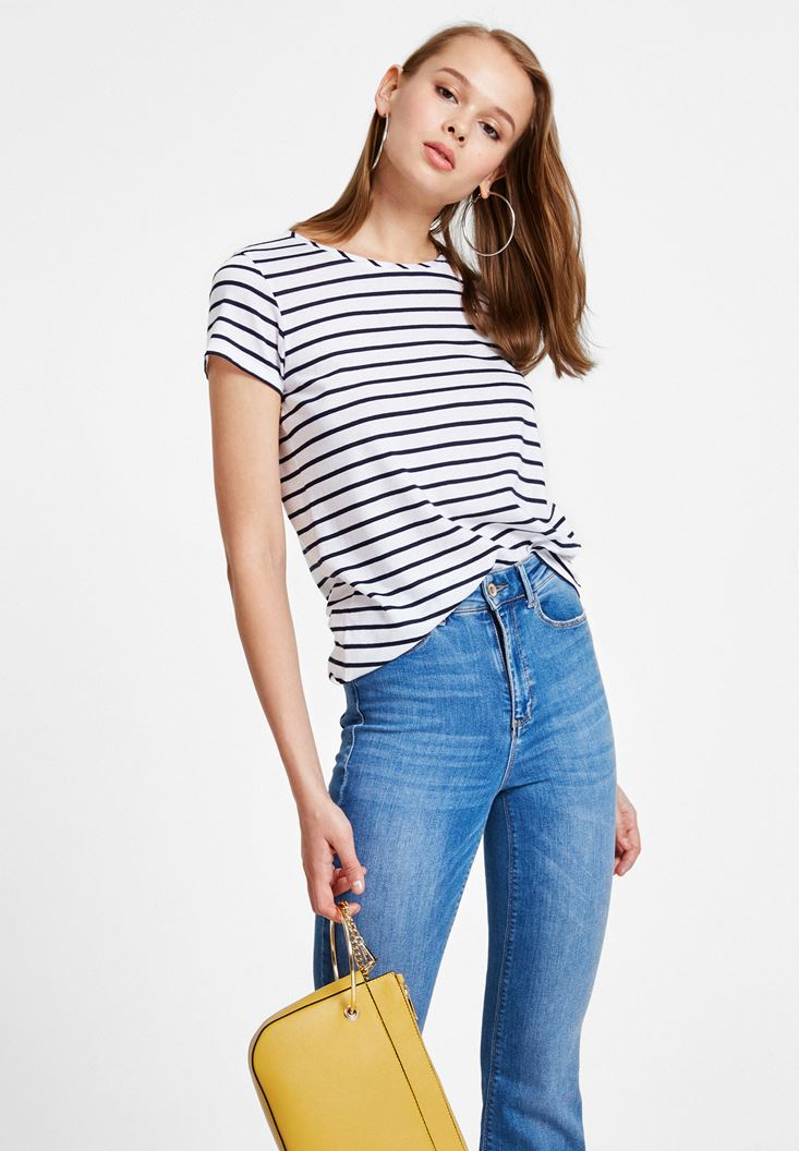 Navy Striped T-Shirt with Neck