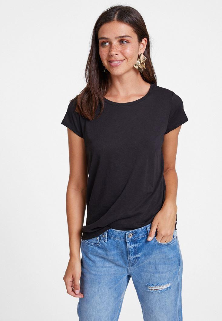 Siyah Yuvarlak Yaka Yarım Kollu Basic Tişört