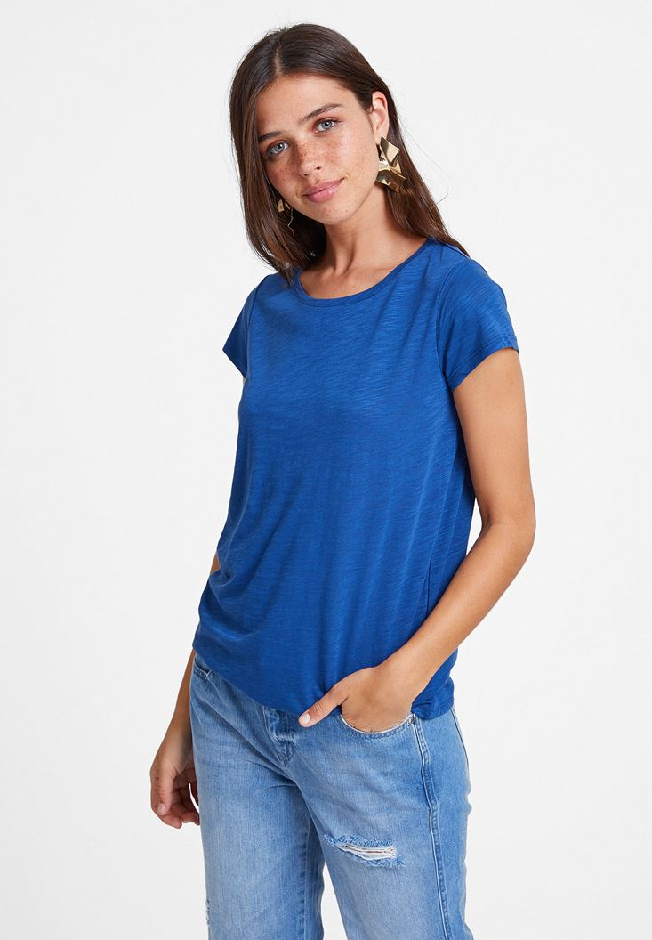 Navy Half Sleeve Scoop Neck Basic T-Shirt
