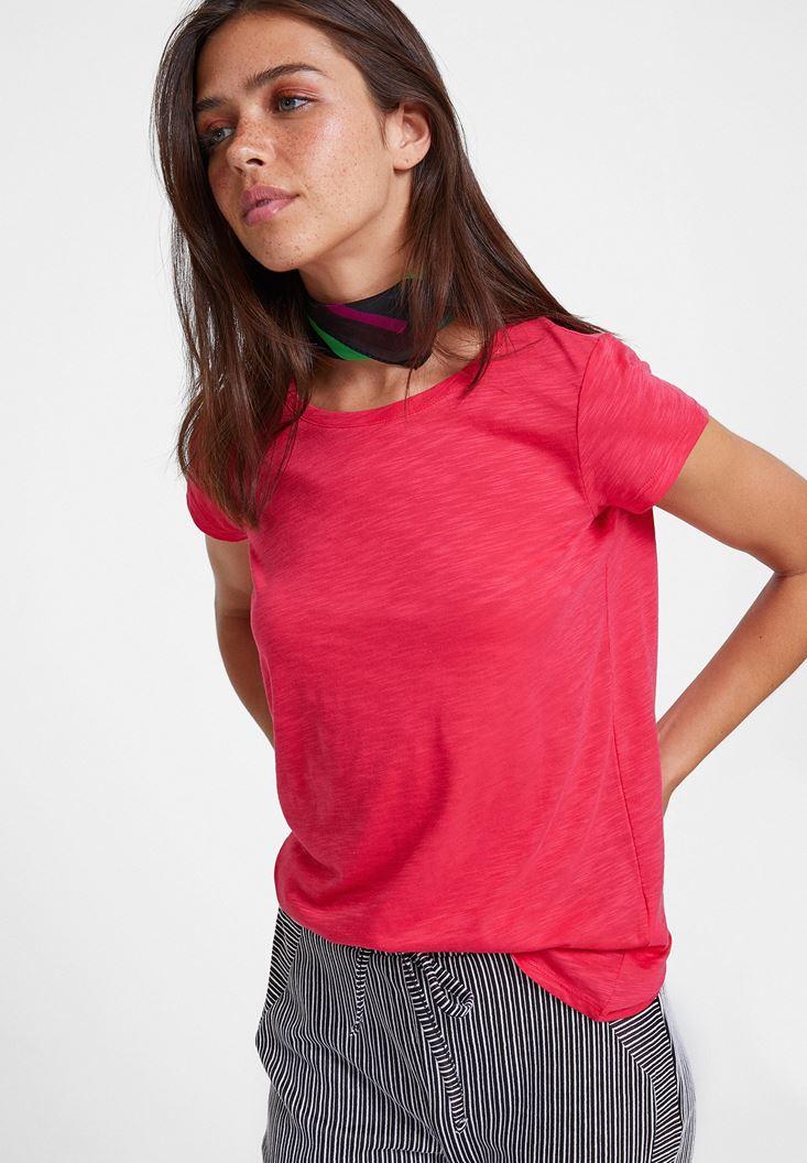 Pink Half Sleeve Scoop Neck Basic T-Shirt