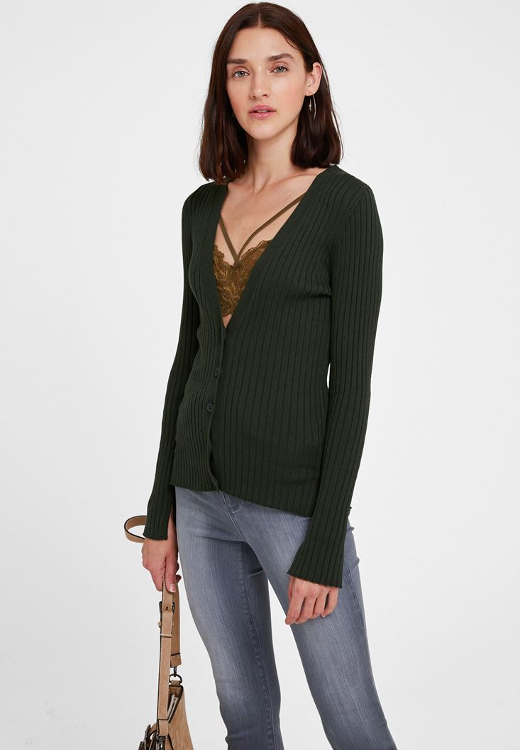 Green Long Sleeve Cardigan with Buttons